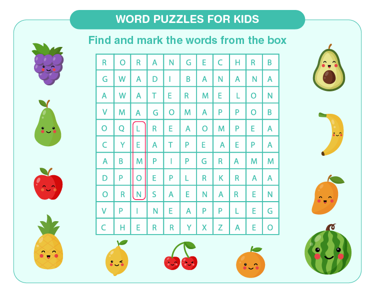 Search the hidden words on the sheet: Free 3rd grade word search for kids