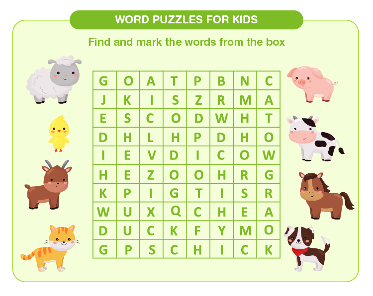 Trace and mark the words: Free printable word search puzzles for kids