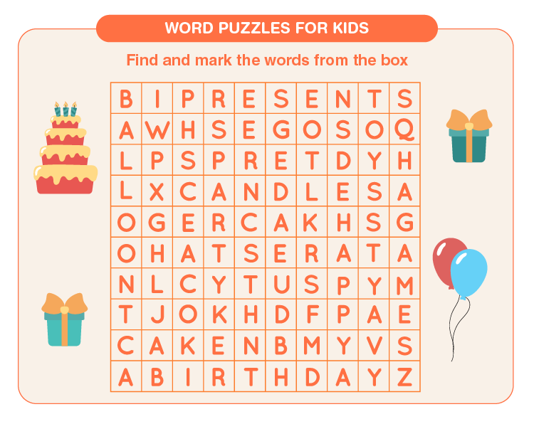 Find and mark the words on the sheet: Free Printable 3rd grade word search