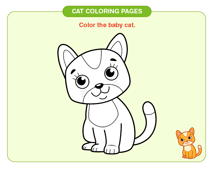 Color the baby cat: Cat coloring pages for kids