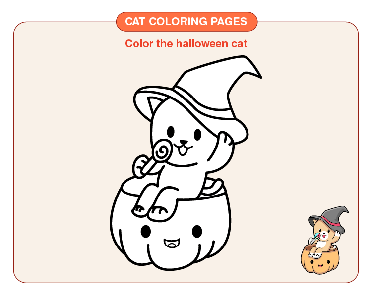 Color the Halloween cat: Printable cat coloring pages for kids
