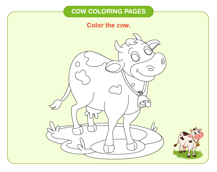Color the baby cow: Free cow coloring pages for kids