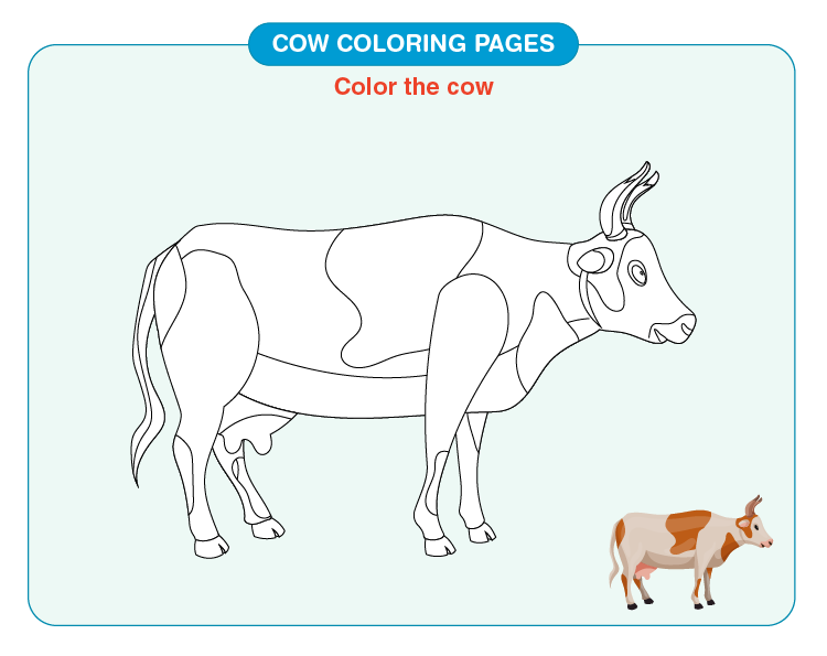 Color the cow on the page: Printable cow coloring pages for kids