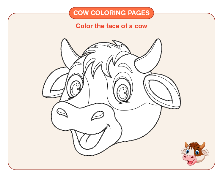 Color face of the cow: Cow coloring pages for kids