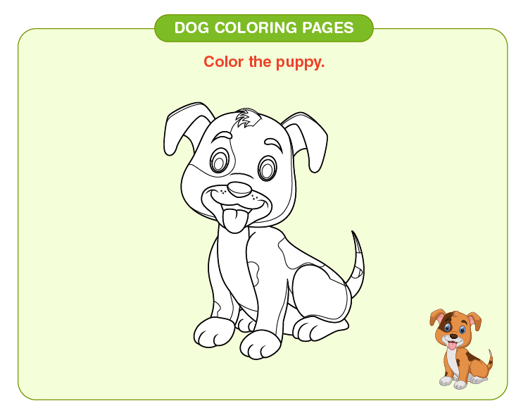 Color the puppy: Dog coloring pages for kids
