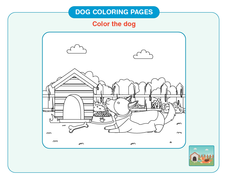 Color the dog sitting outside the house: Free dog coloring pages for kids