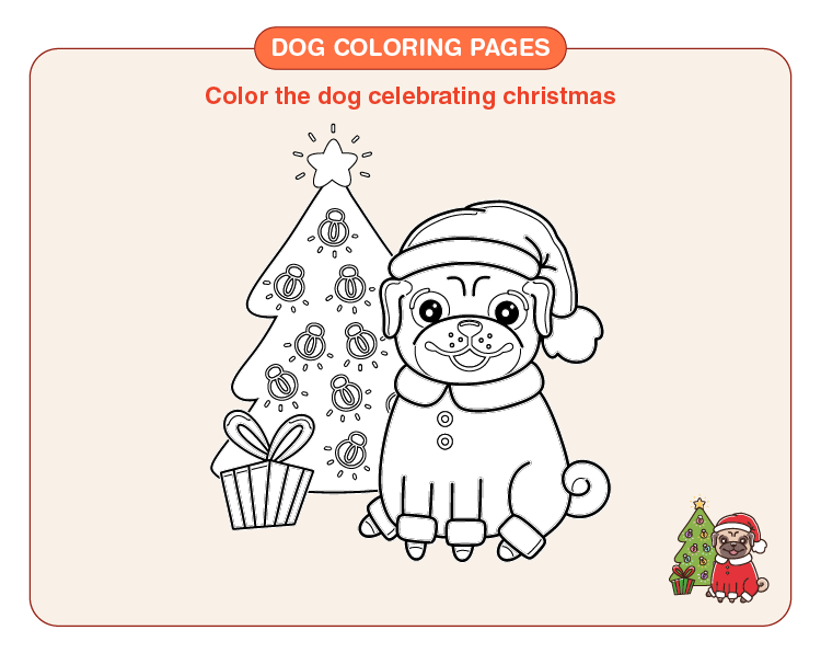Color the Christmas celebrating dog: Printable dog coloring pages for kids
