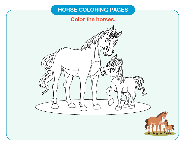 Color the mother and baby horse: Printable horse coloring pages for kids