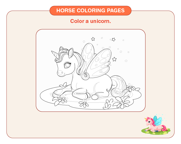 Color the unicorn: Free horse coloring pages for kids