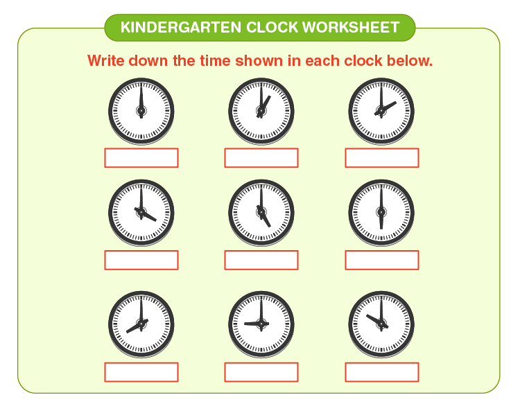 Write the time on the worksheet: Free Clock worksheets for kids