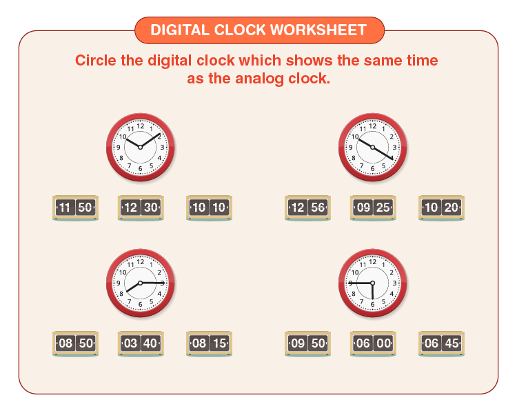 Circle the time shown on the clock:  Printable clock worksheets for kids