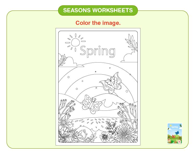 Color the spring season: Seasons worksheets for kids