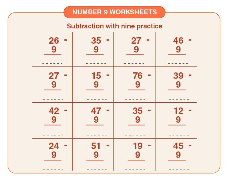 Number 9 Subtraction Worksheet