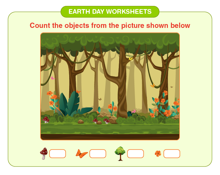 Count the number of objects on the worksheet: Earth day worksheets for kids