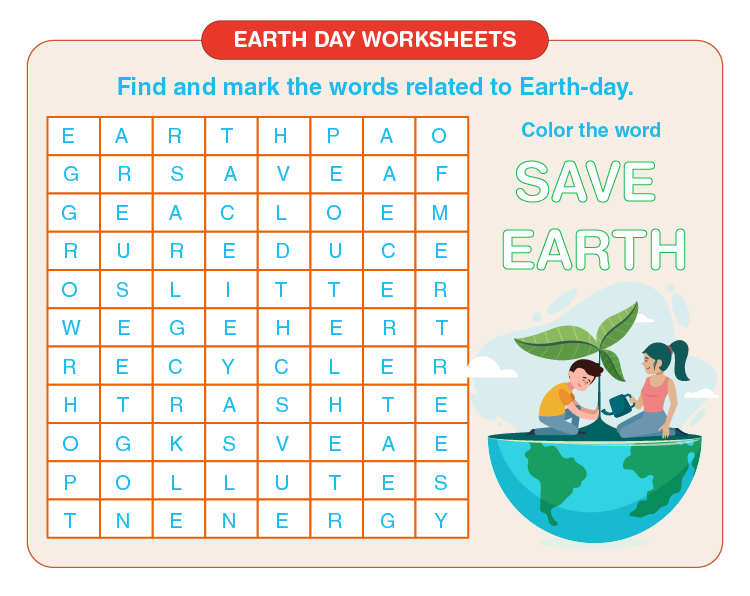 Identify and mark the words related to earth day: Free printable worksheets on earth day