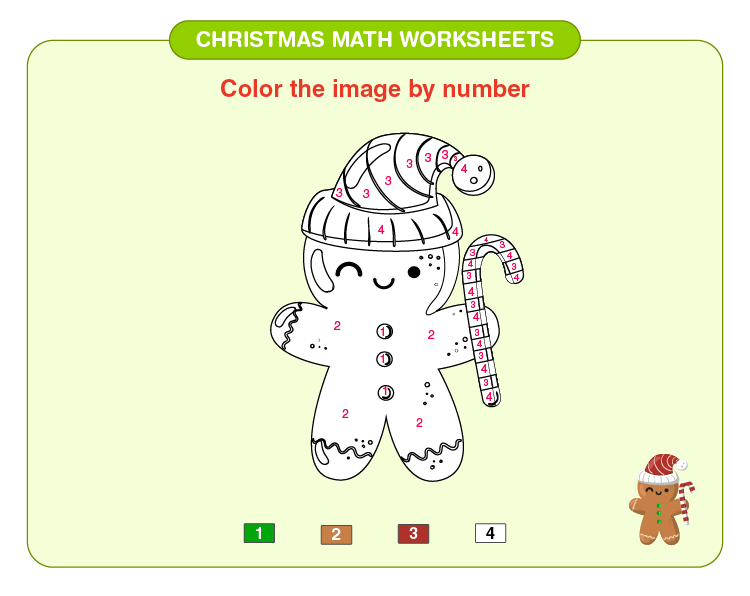Color the Christmas toy: Christmas math worksheets for kids
