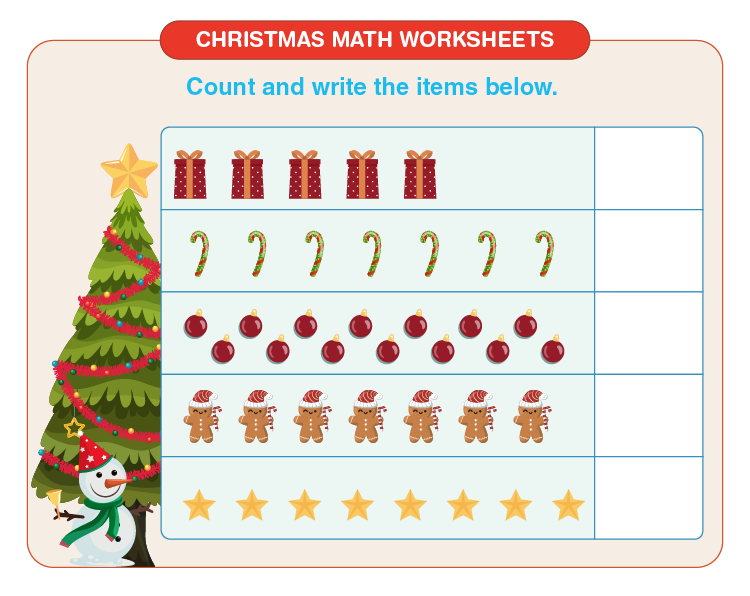 Count and write the number of items: Free printable Christmas math worksheets