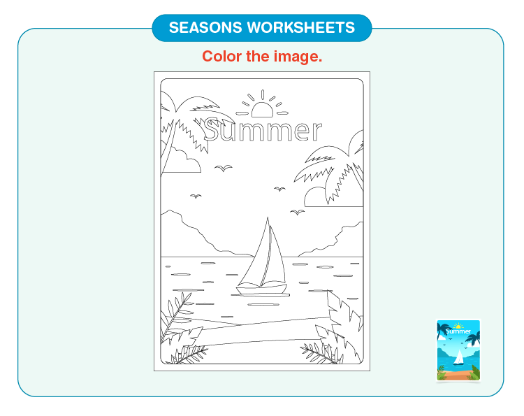 Color the summer season: Free printable seasons worksheets for kids