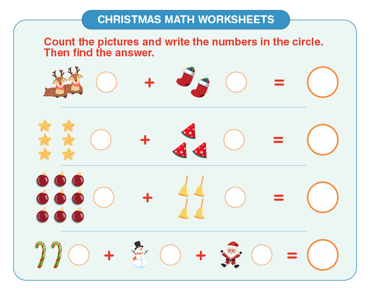 Write the number of items: Free Christmas math worksheets