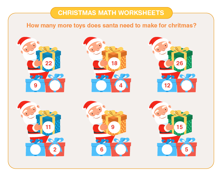Count the number of toys: Christmas math worksheets