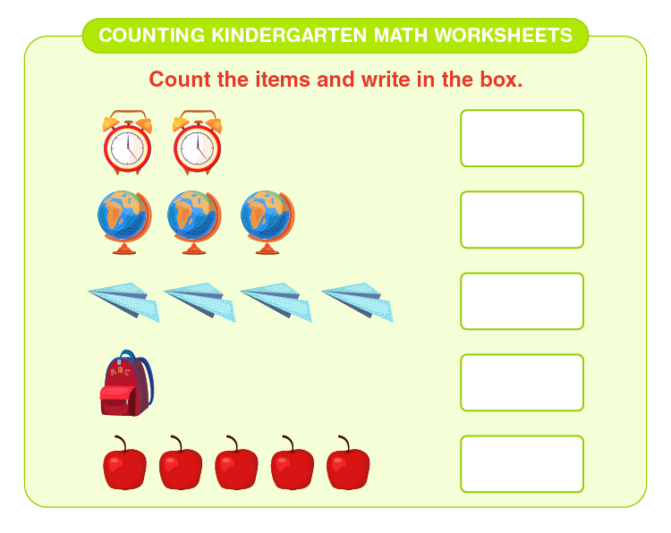 Count the number of items: Counting kindergarten math worksheets for kids
