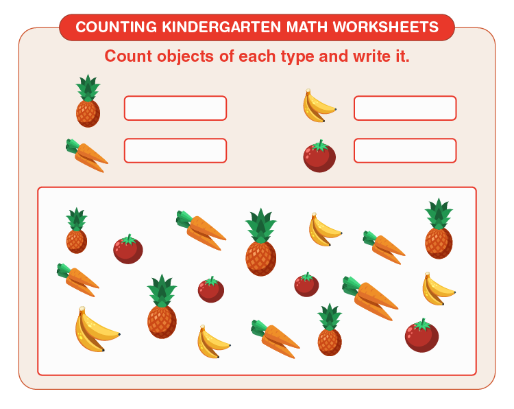 Write the number of items: Free counting kindergarten math worksheets