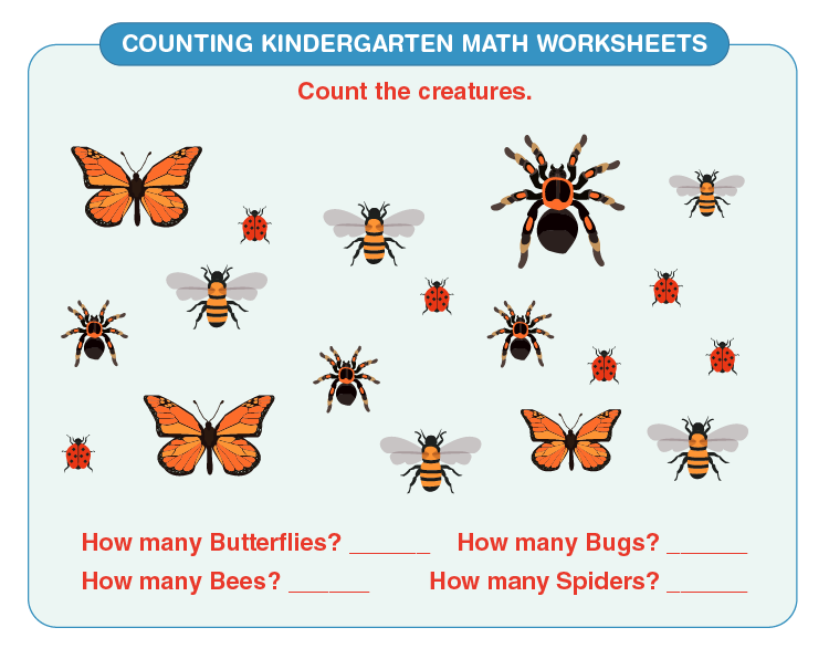 Answer the questions on the worksheet: Free math worksheets for kindergarten counting