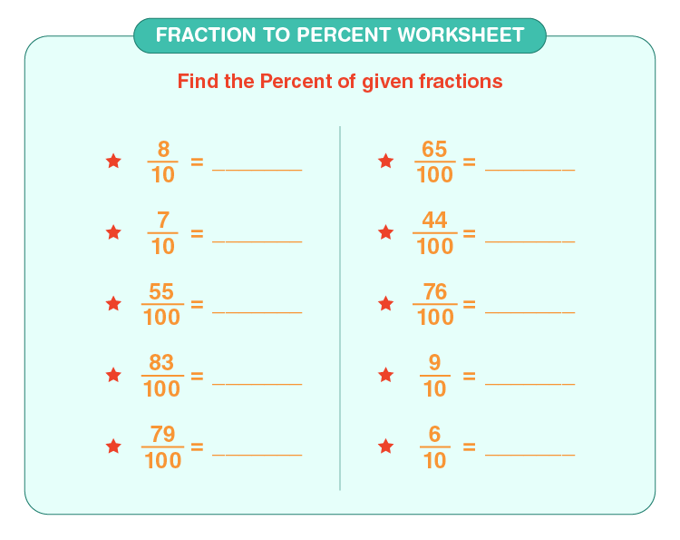Convert fraction into percent: Fraction to percent worksheet