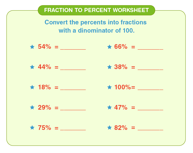 Convert percent to fractions: Free printables fraction to percent worksheet