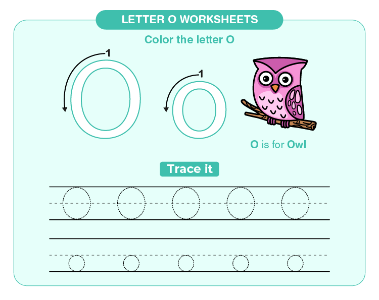Write and color letter O on the worksheets: Letter O worksheets for kids
