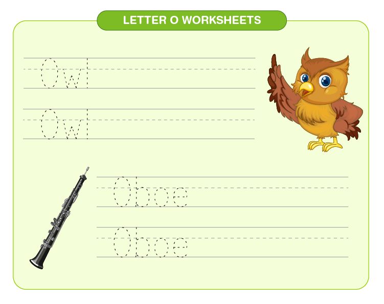 Practice O for owl and oboe on the worksheet: Free printable letter O worksheets for kids