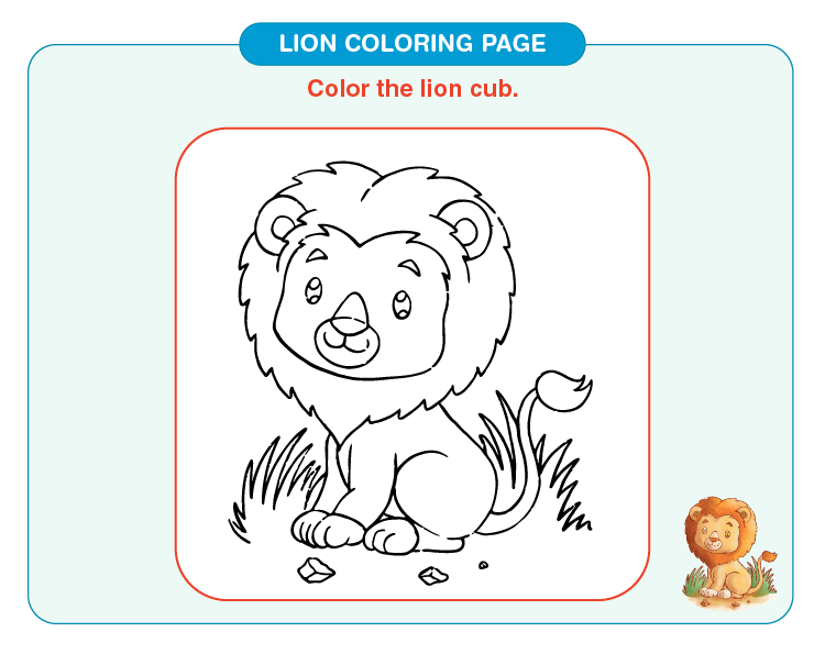 Color the lion cub: Printable lion coloring pages for kids
