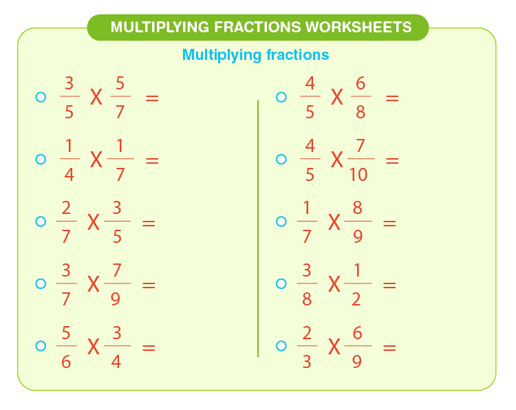 Multiply fractions with fractions: Free printable multiplying fractions worksheets