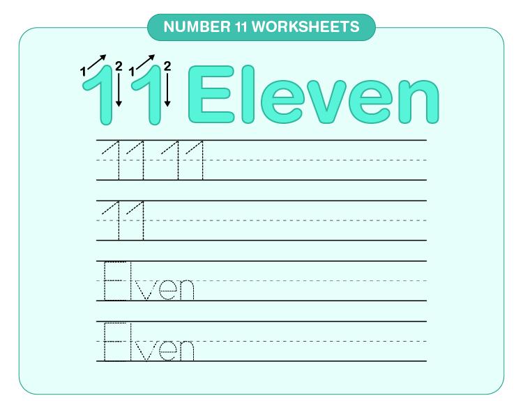 Number 11 Tracing Worksheet