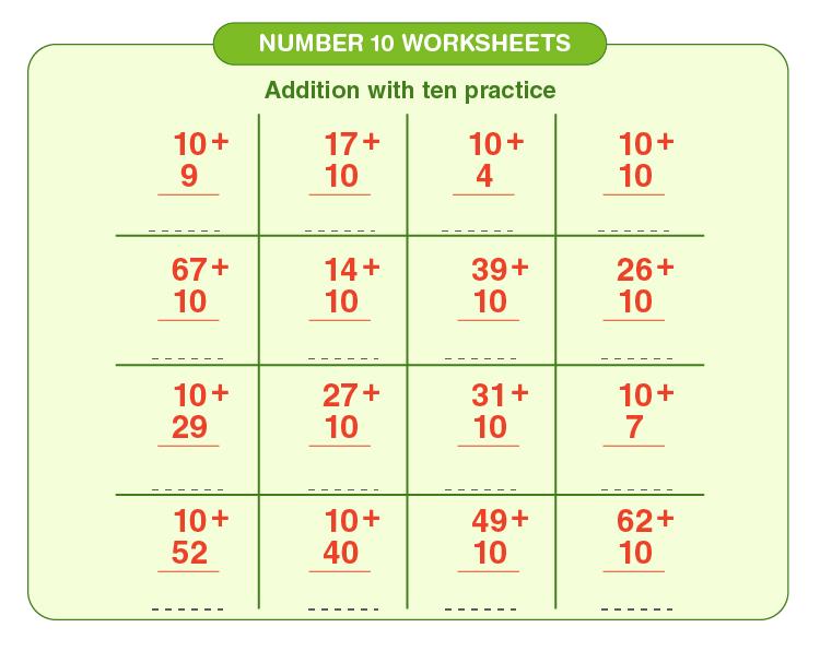 Number 10 Addition Worksheet