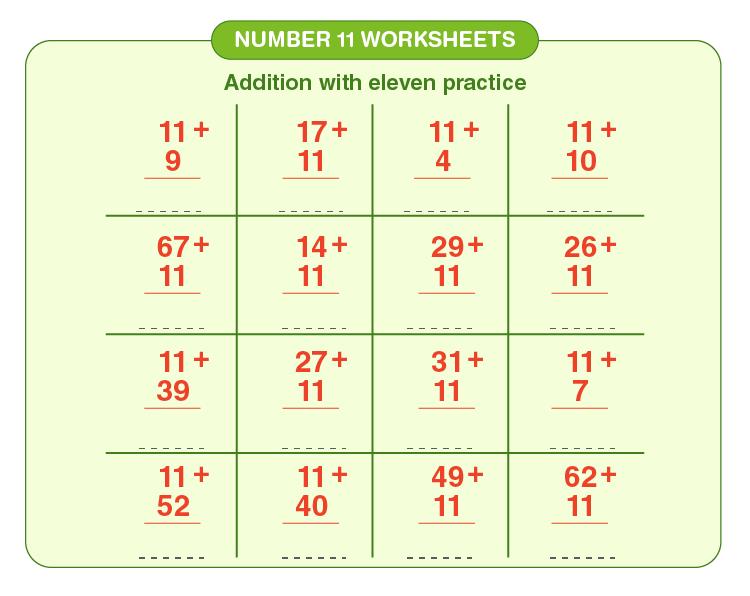 Number 11 Addition Worksheet