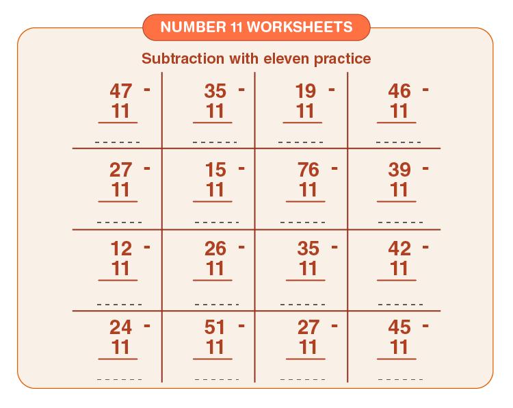 Number 11 Subtraction Worksheet