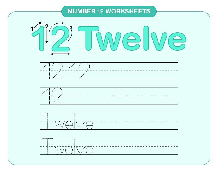 Number 12 Tracing Worksheet