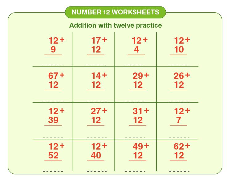 Number 12 Addition Worksheet