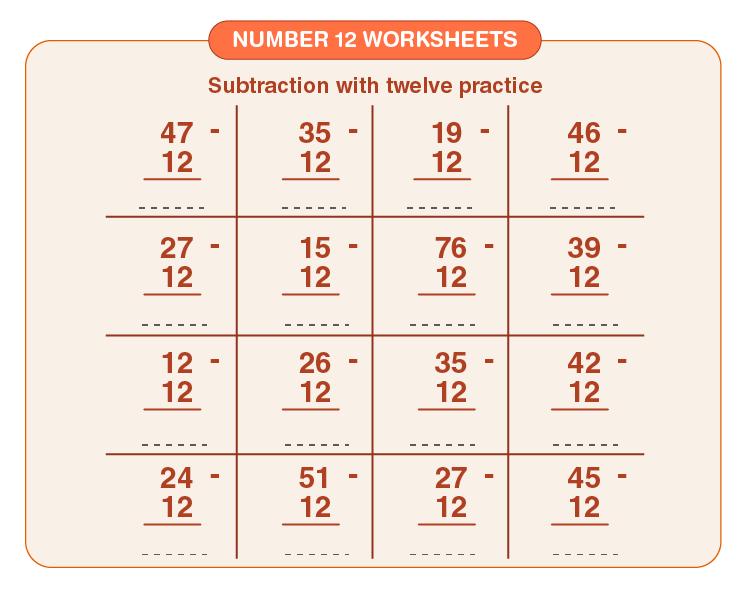 Number 12 Subtraction Worksheet