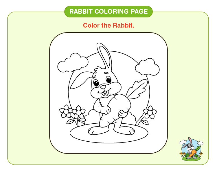 Color the carrot eating rabbit: Rabbit coloring pages for kids
