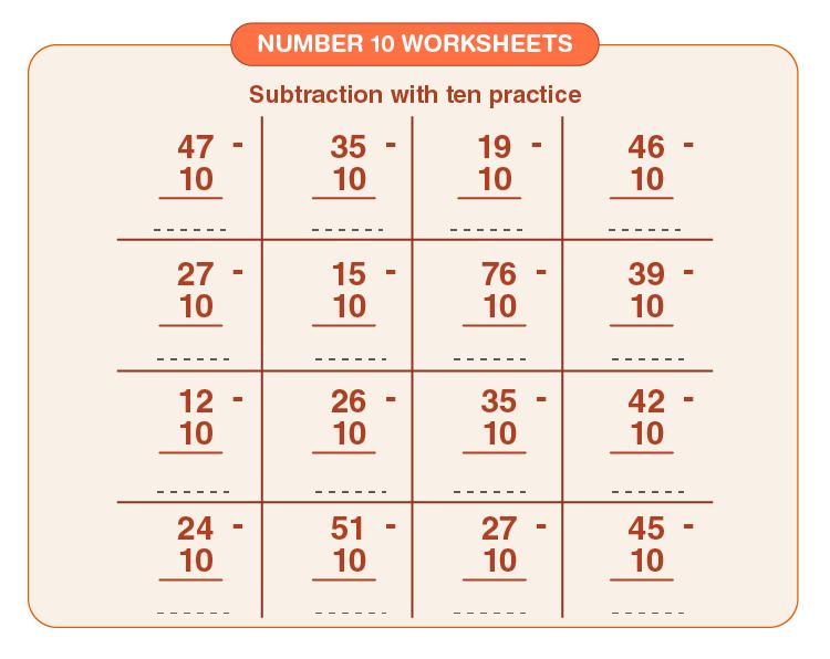 Number 10 Subtraction Worksheet