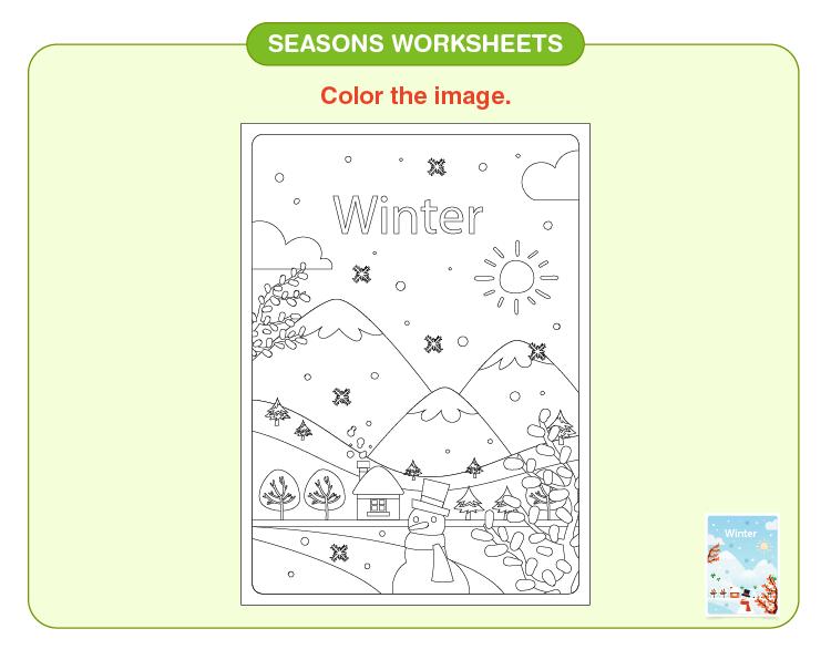 Color the winter season: Seasons of the year worksheet