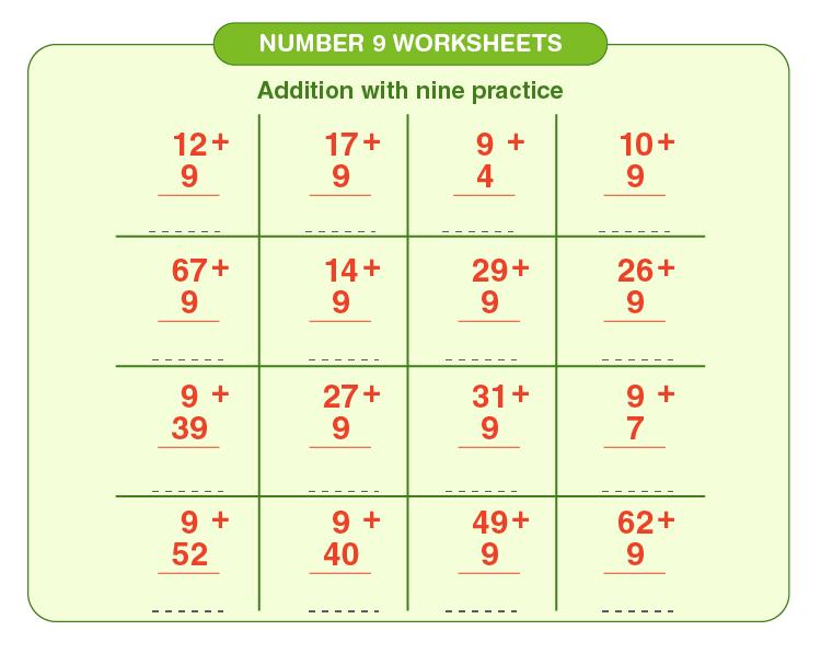 Number 9 Addition Worksheet