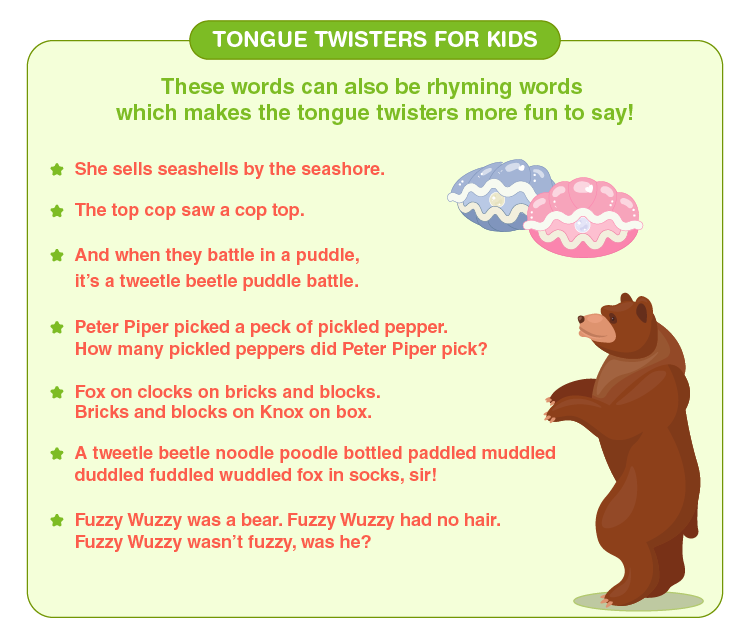 Free Tongue Twisters For Kids Printable